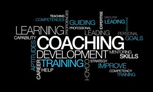 Coaching development training words tag cloud video illustration